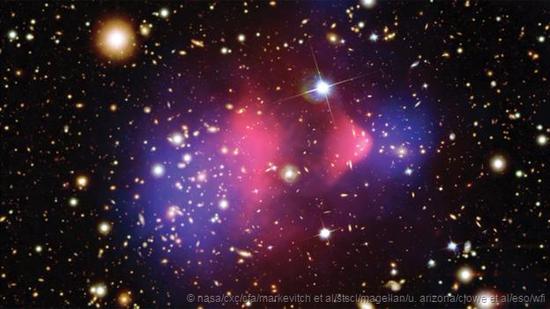 人学网 宇宙探索 天地起源 星系之间的相互碰撞为科学家们提供了有关暗物质存在的强烈证据